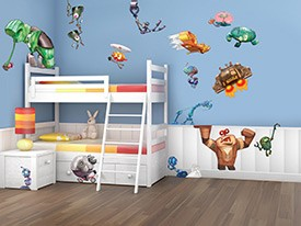 Cartoon Robot Wall Decals Set