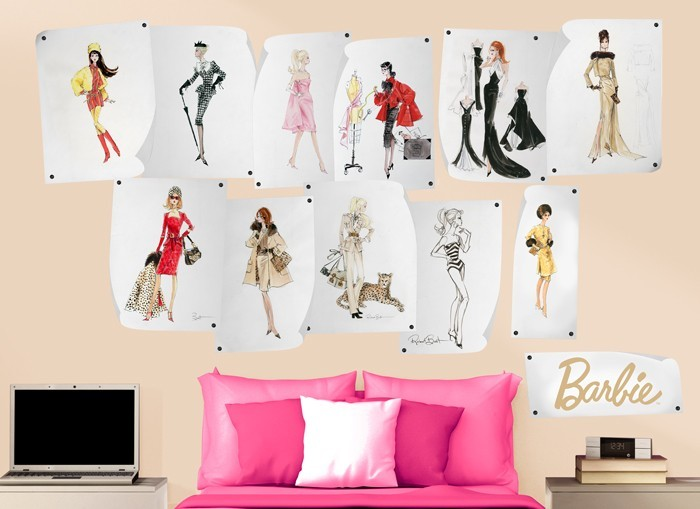 Barbie fashion design wall decals 2 for Barbie wall mural