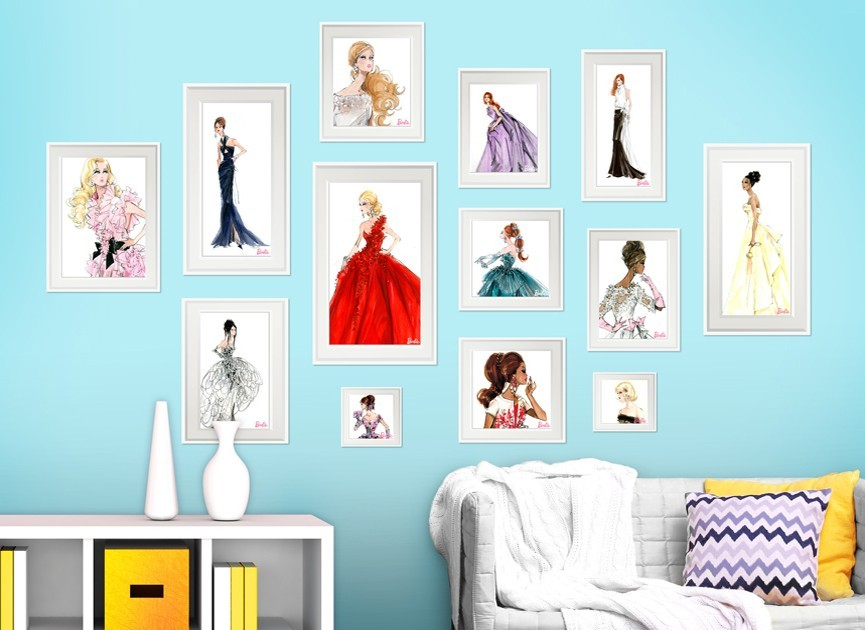 Barbie framed fashion wall decals set 2 for Barbie wall mural