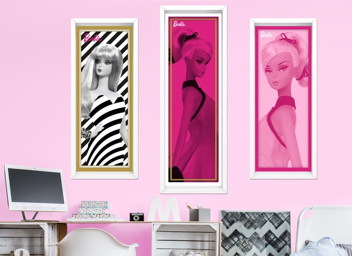 Barbie faux framed art wall decals for Barbie wall mural