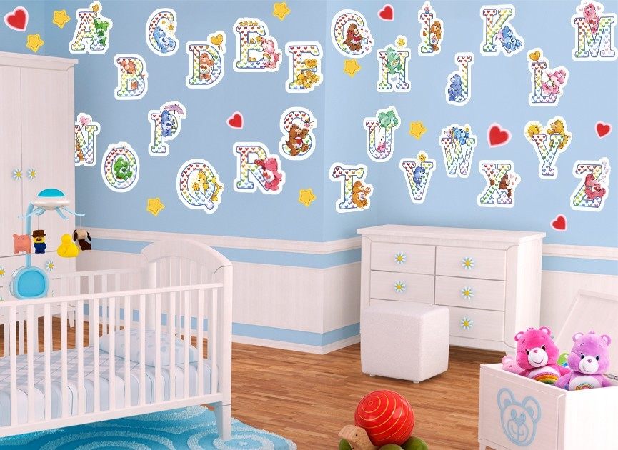 Care bear alphabet wall decals for Alphabet wall mural