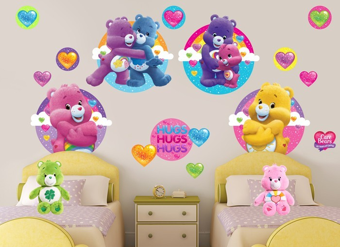 Care bears glitter hearts wall decal set for Care bears wall mural