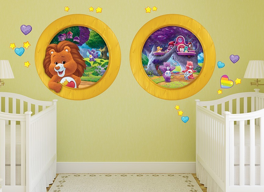 Care bear cousins window wall decals for Care bears wall mural
