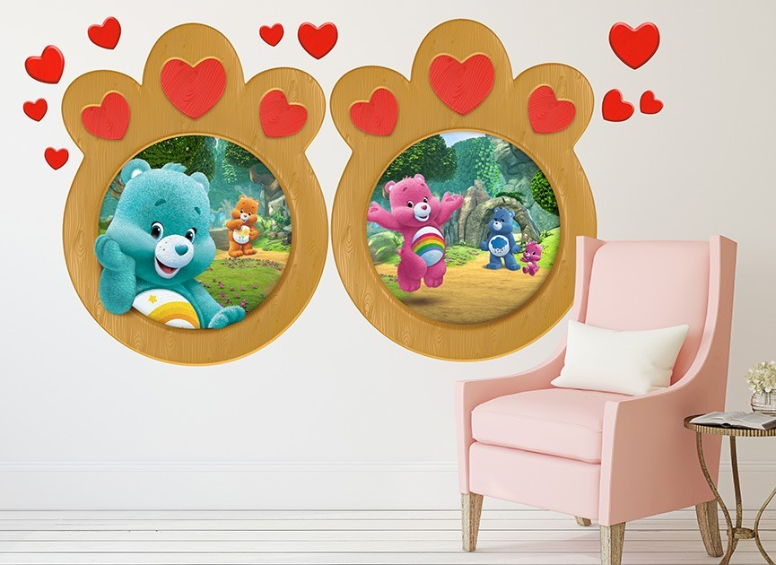 Care bear heart window wall decals for Care bears wall mural