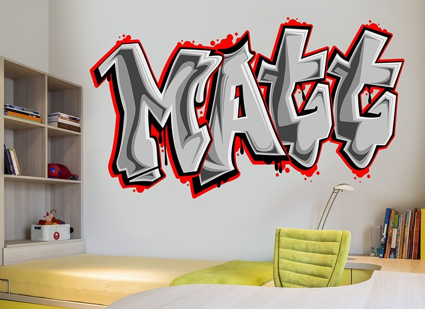 Customizable graffiti font wall decals for Custom wall mural decals