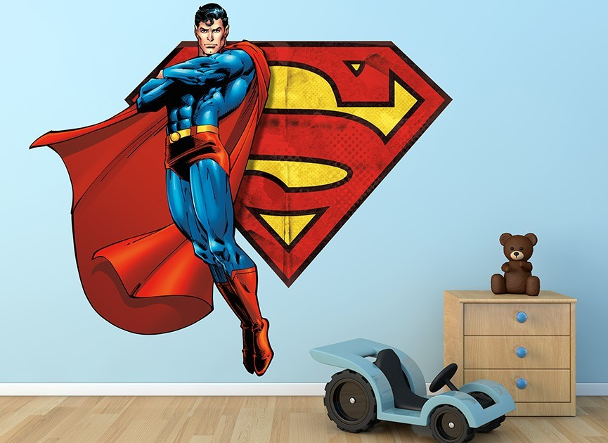 Superman Flying With S Shield Wall Decal