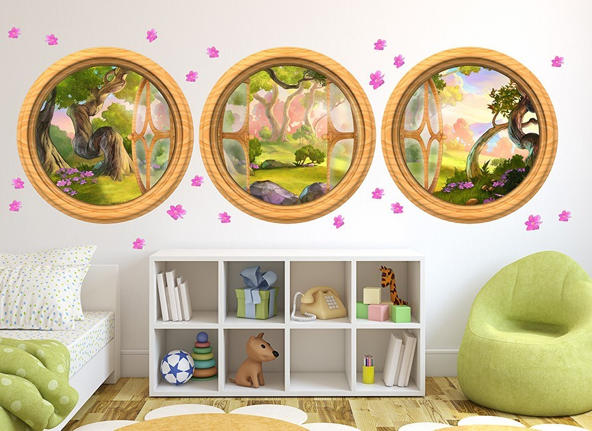 3 Enchanted Forest Window Wall Decals