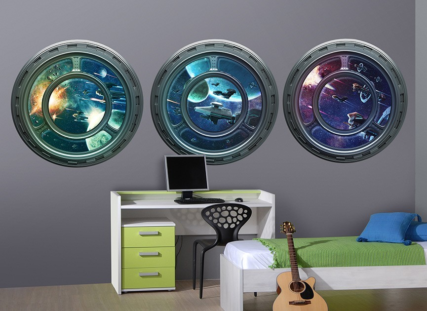 3 Space Ship Window Wall Decals