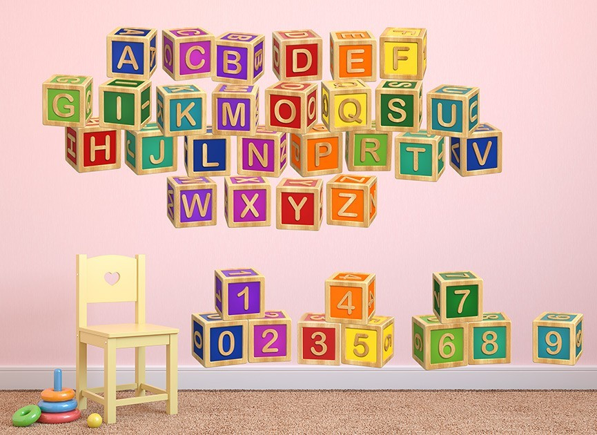 ABC's & 123's Toy Block Wall Decals