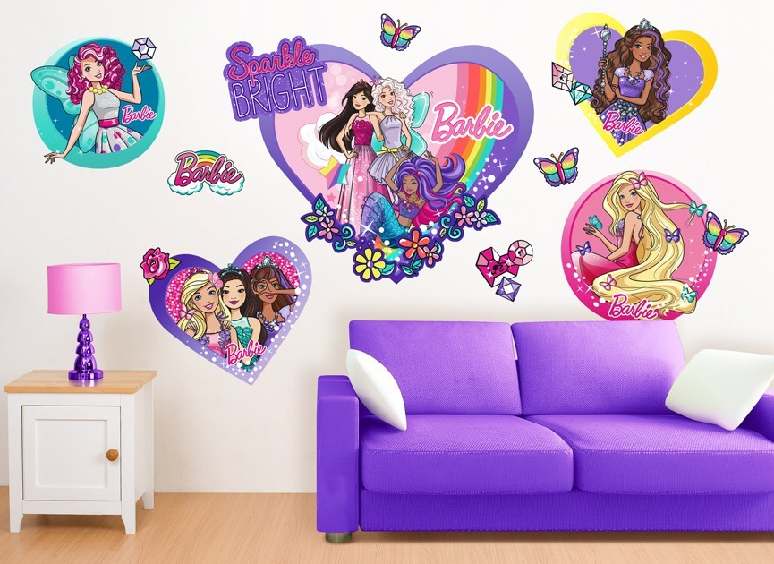 Barbie fairy princess friends wall decals for Barbie princess giant wall mural