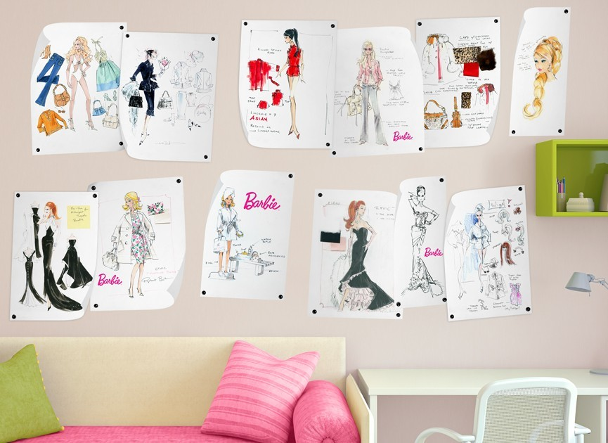 Barbie fashion design wall decals for Barbie wall mural