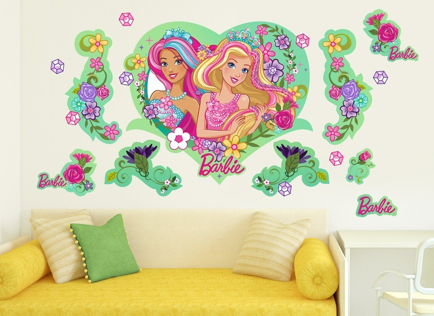 Barbie princess flower wall decal set for Barbie princess giant wall mural