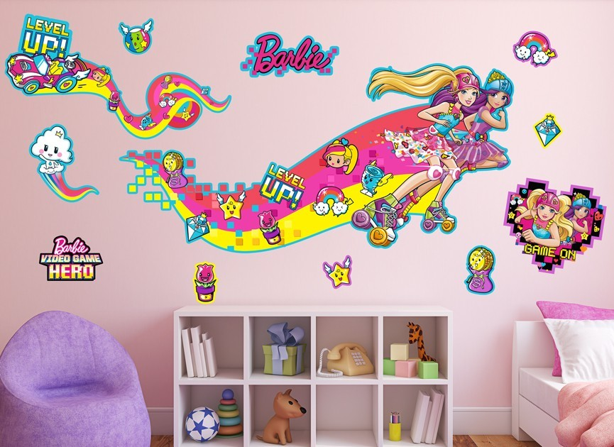 Barbie roller skaters wall decal set for Beautiful barbie wall decals
