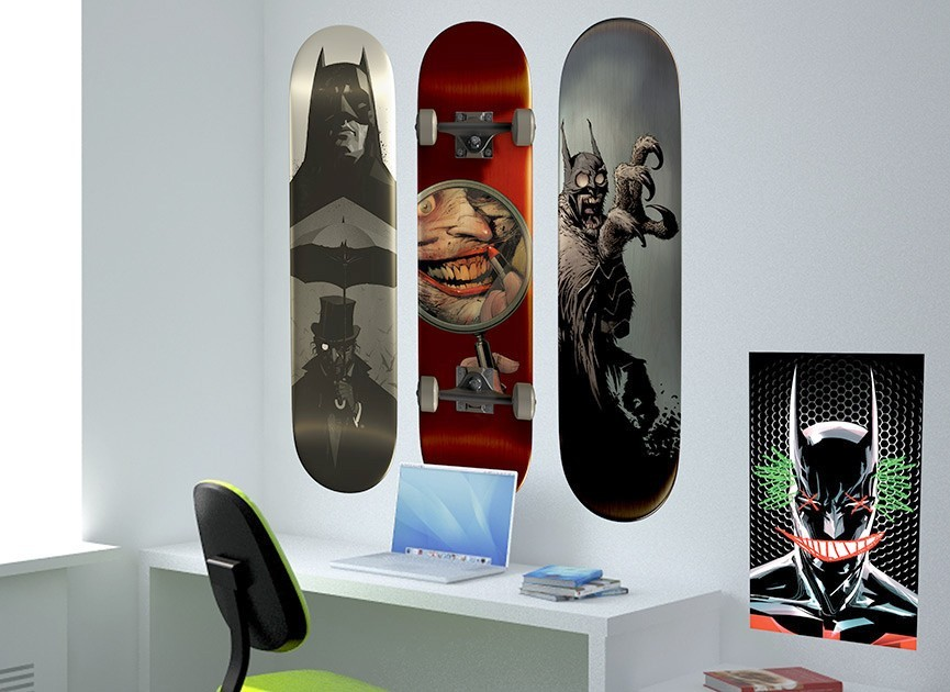 Batman Skateboard Wall Decals - Set of 3