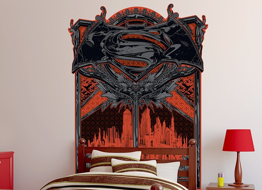 Batman vs Superman Headboard Wall Decal