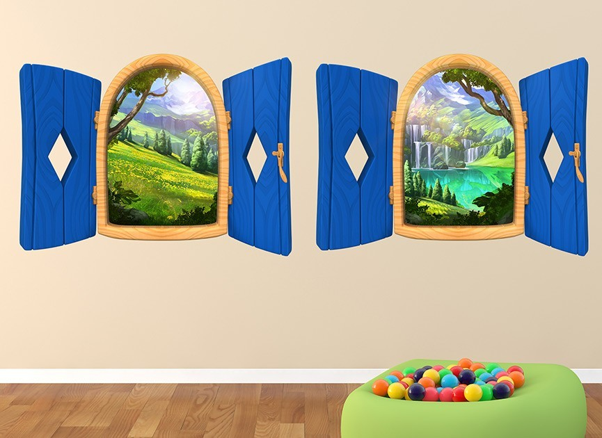 2 Cartoon Window Wall Decals