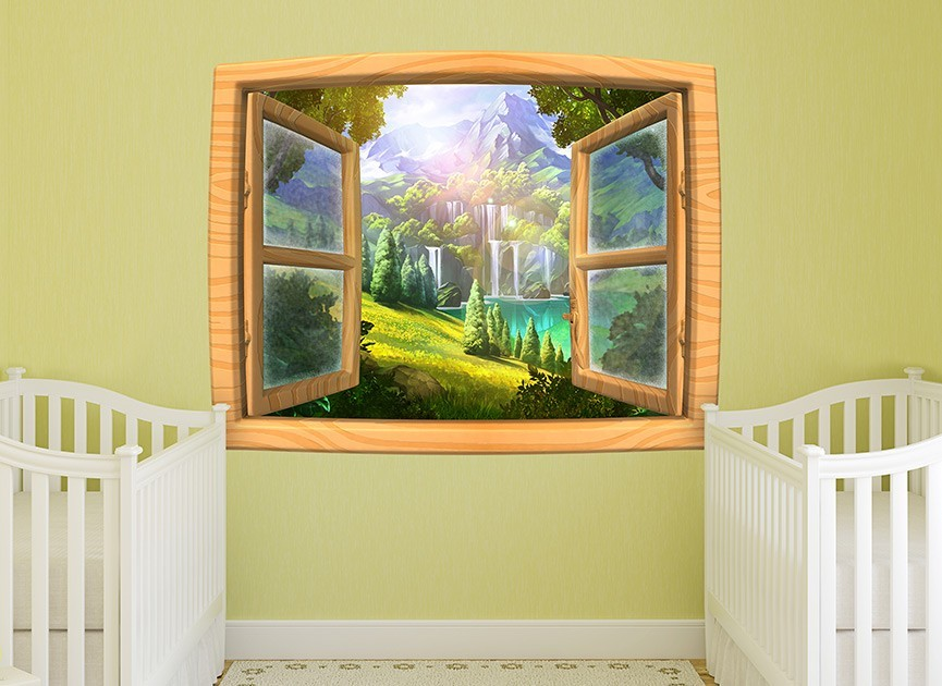 Cartoon window wall decal
