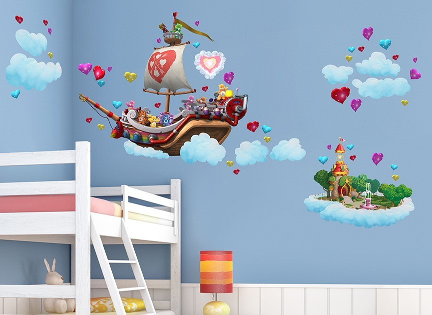Care bears cloud ship wall decals for Care bears wall mural