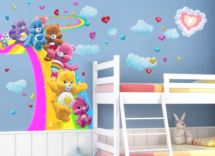 Care bears surfing rainbow wall decal for Care bears wall mural