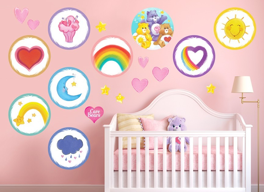 Care bears watercolor wall decal set for Care bears wall mural
