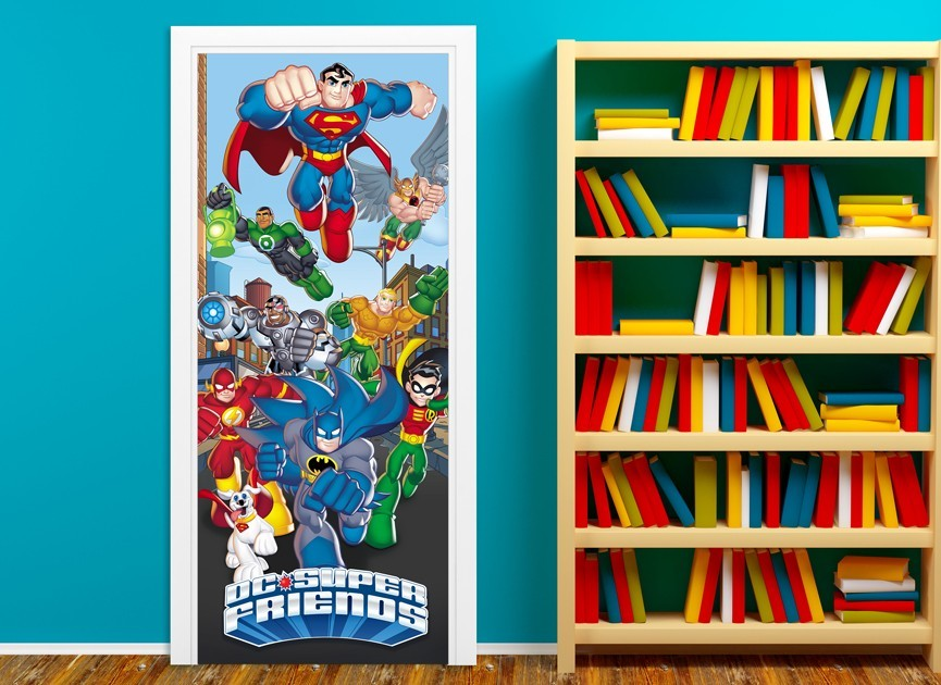 DC Super Friends Action Door Wall Decal