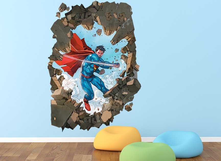 Attirant Superman Busting Hole In Wall Wall Decal