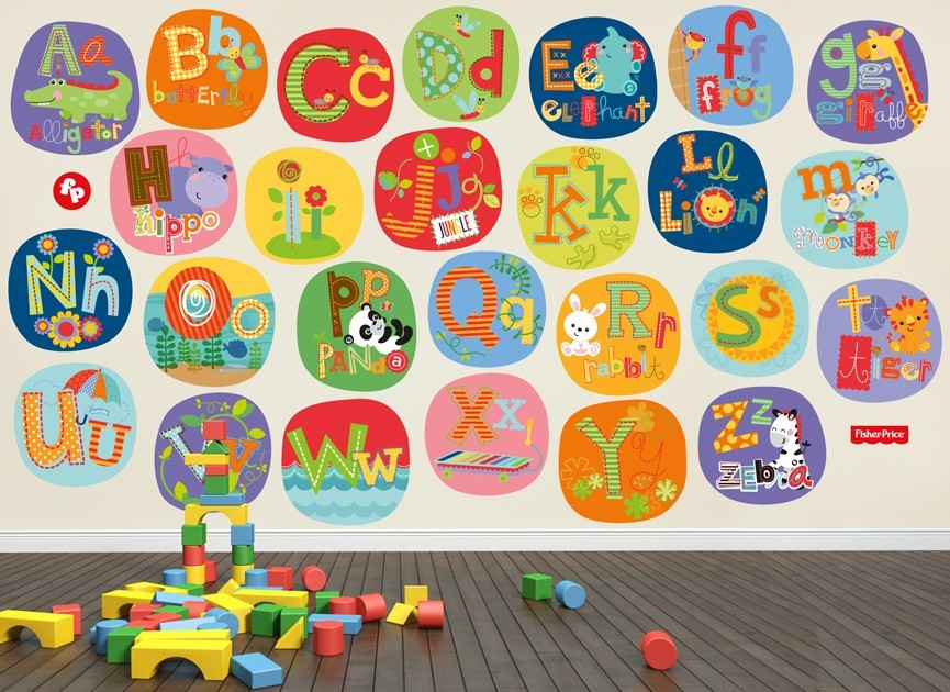 Fisher price abc animal wall decal set for Alphabet wall mural