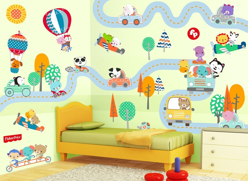 Fisher Price Traveling Animals Wall Decal
