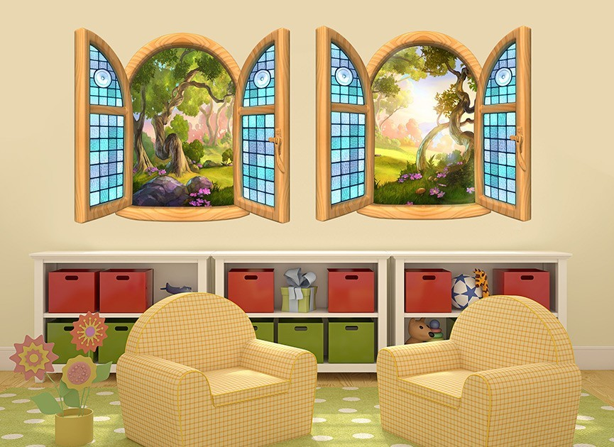 Stained Glass Window Wall Decal Set & Stained Glass Decal - Glass Designs