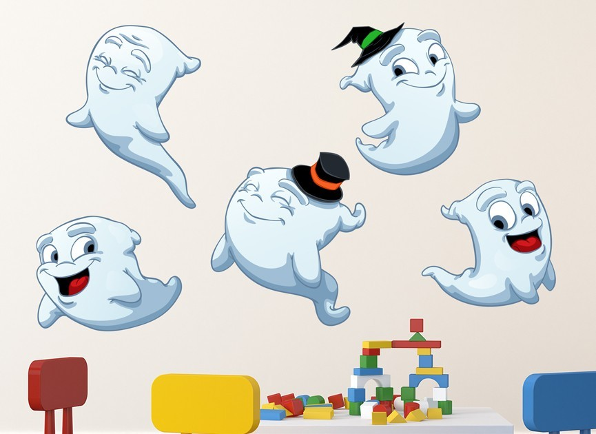 Ghost Halloween Wall Decal Set