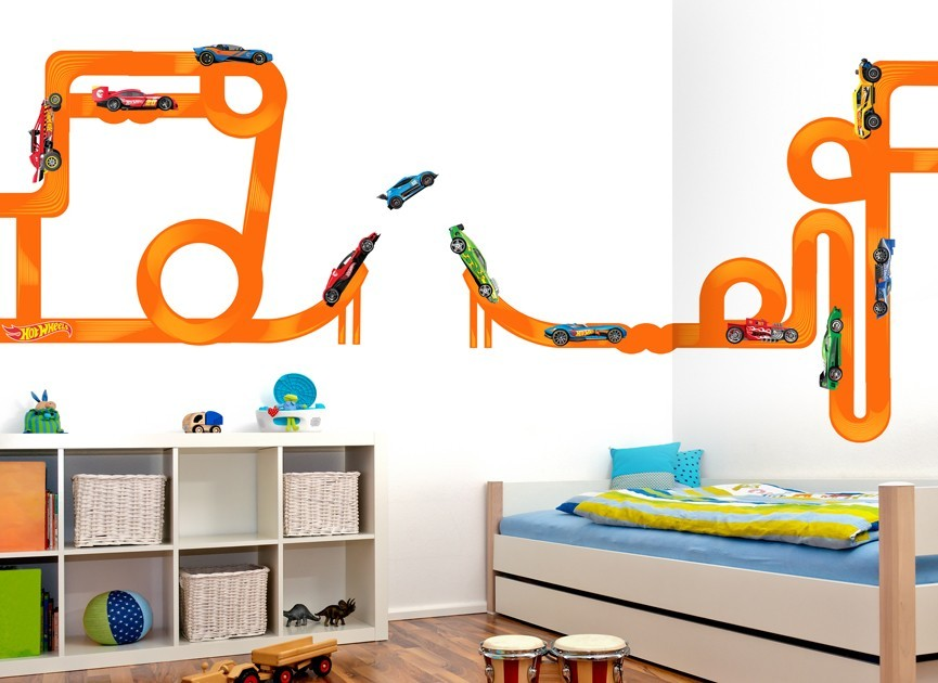 Hot wheels cars tracks wall decal set for Circuit hot wheels mural