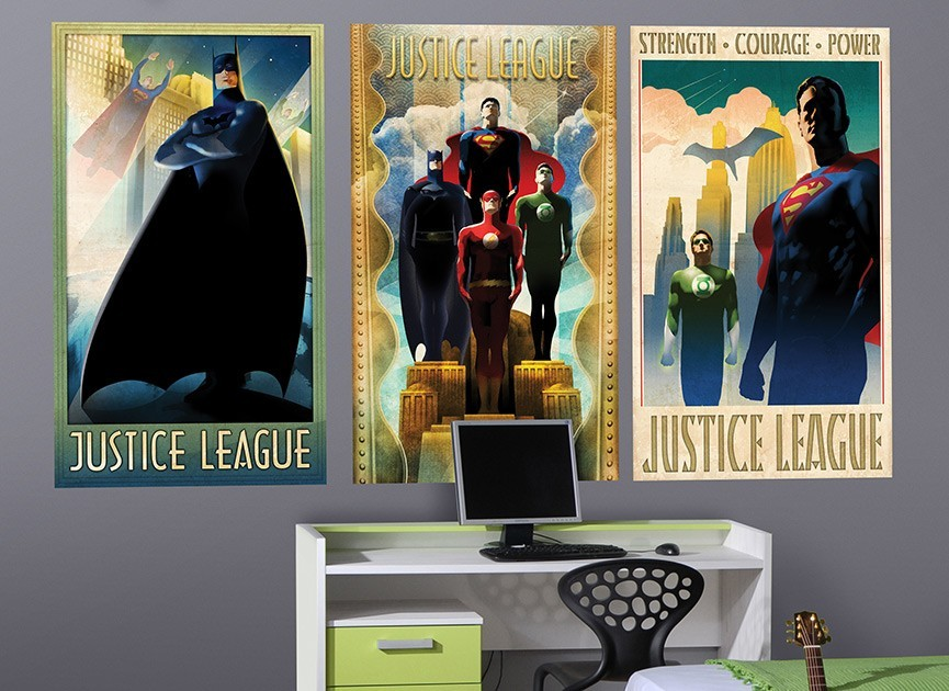 Justice League Art Deco Poster Wall Decals 2