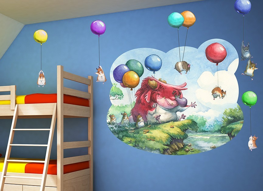 Monster With Balloons Wall Decals
