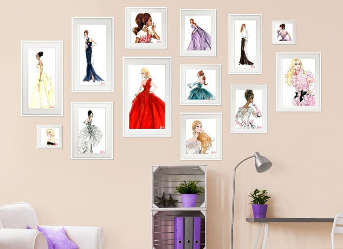 Barbie framed fashion wall decals set 2 for Beautiful barbie wall decals