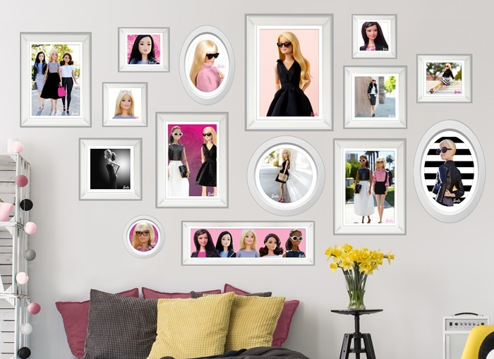 Barbie framed fashion wall decals set for Barbie wall mural