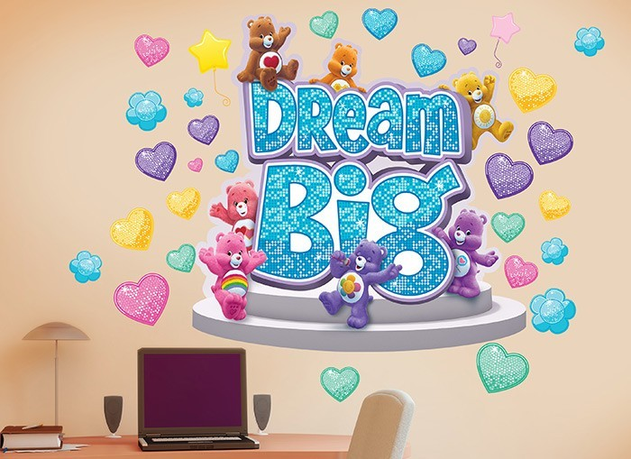 Big hearts dream big wall decal for Care bears wall mural