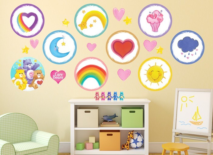 Care bears watercolor wall decal set for Belly button bears wall mural