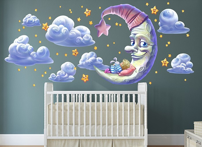 Moon and stars wall decal set for Amazing look with moon and stars wall decals