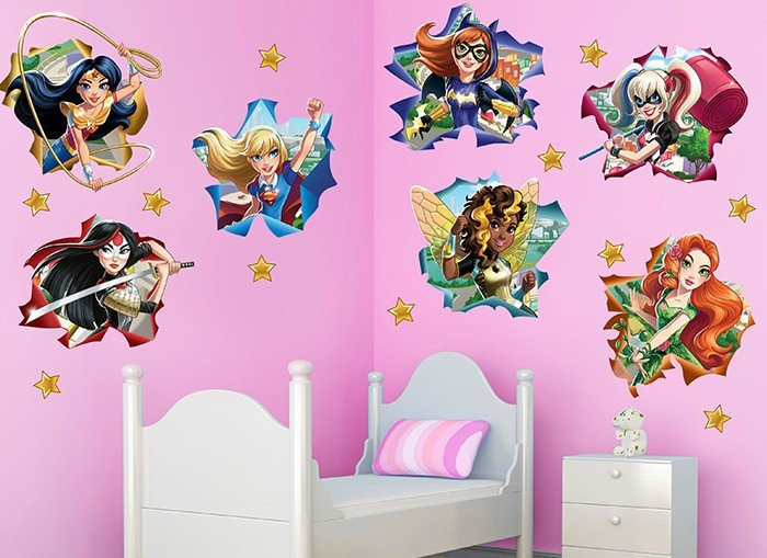 DC Super Hero Girls Star Wall Decal Set Set - Superhero wall decals for girls