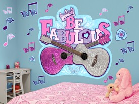 Pink Glitter Guitar Wall Decal Set