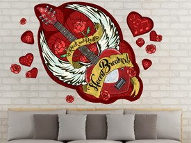 Heart & Rose Guitar Wall Decal Set