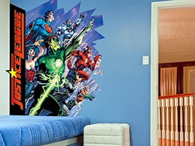Justice league Busting In Wall Decal