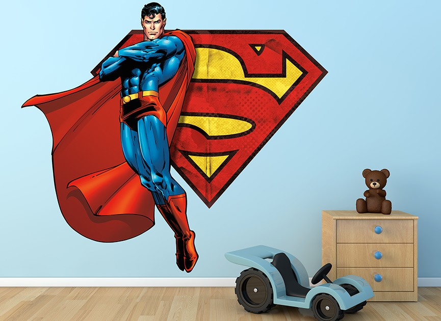 Superman Flying with S-Shield Wall Decal