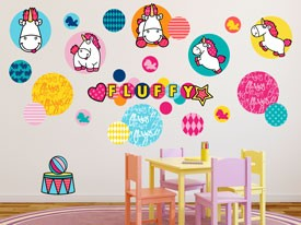 Fluffy the Unicorn Patches Wall Decal Set
