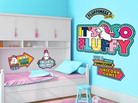 Fluffy the Unicorn Games Wall Decal Set