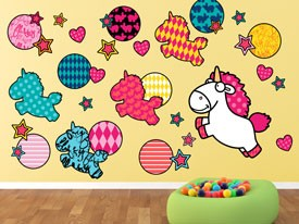 Fluffy Unicorn Stars & Hearts Wall Decals