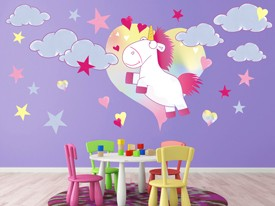 Fluffy The Unicorn Wall Decals Set
