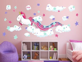 Fluffy the Unicorn Rainbow Wall Decal