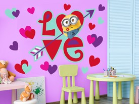 Minions Valentine's Love Wall Decal Set