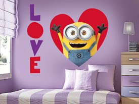 Minions Valentine Heart Wall Decals